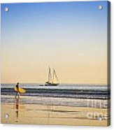 Australia Broome Cable Beach Surfer And Sailing Ship Acrylic Print by Colin and Linda McKie