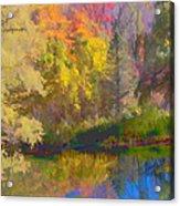 Autumn Beside The Pond Acrylic Print by Don Schwartz
