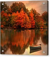 Autumn Canoe Acrylic Print by Robin-lee Vieira