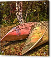 Autumn Canoes Acrylic Print by Debra and Dave Vanderlaan
