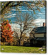 Autumn Farm House Acrylic Print by Lara Ellis