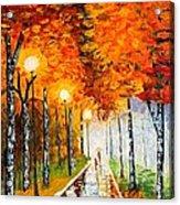 Autumn Park Night Lights Palette Knife Acrylic Print by Georgeta  Blanaru