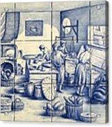 Azulejo Portuguese Bakers Tile Mural Acrylic Print by Julia Sweda