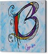 'b' Monogram Acrylic Print by Joyce Auteri