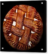 Bacon Weave Baseball Square Acrylic Print by Andee Design