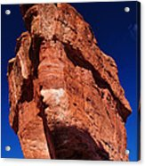 Balanced Rock At Garden Of The Gods With Moon Acrylic Print by John Hoffman