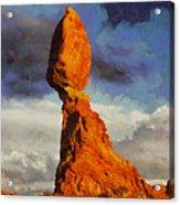 Balanced Rock At Sunset Digital Painting Acrylic Print by Mark Kiver