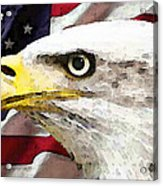 Bald Eagle Art - Old Glory - American Flag Acrylic Print by Sharon Cummings