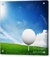 Ball On Tee On Green Golf Field Acrylic Print by Michal Bednarek