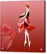 Ballerina On Pointe With Red Rose  Acrylic Print by Delores Knowles