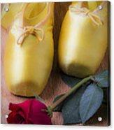 Ballet Shoes With Red Rose Acrylic Print by Garry Gay
