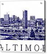 Baltimore Blueprint Acrylic Print by Olivier Le Queinec
