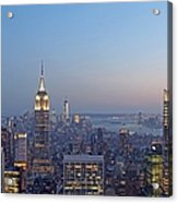 Bank Of America And Empire State Building Acrylic Print by Juergen Roth
