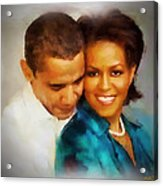 Barack And Michelle Acrylic Print by Wayne Pascall