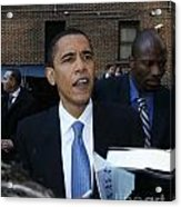 Barack Obama Nyc 4-9-07 Acrylic Print by Patrick Morgan