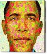 Barack Obama - Maple Leaves Acrylic Print by Samuel Majcen