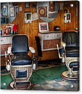 Barber - Frenchtown Nj - Two Old Barber Chairs  Acrylic Print by Mike Savad