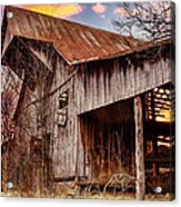 Barn At Sunset Acrylic Print by Brett Engle