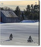 Barn In Snow In Color Acrylic Print by Donna Doherty