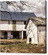Barn Near Utica Mills Covered Bridge Acrylic Print by Joan Carroll
