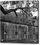 Barn With Brick Silo In Black And White Acrylic Print by Julie Dant
