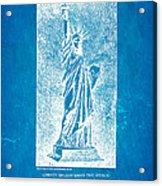 Bartholdi Statue Of Liberty Patent Art 1879 Blueprint Acrylic Print by Ian Monk