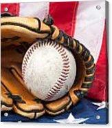 Baseball And Glove On American Flag Acrylic Print by Joe Belanger