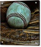 Baseball Broken In Acrylic Print by Paul Ward