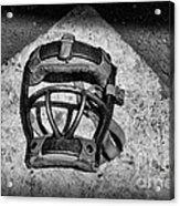 Baseball Catchers Mask Vintage In Black And White Acrylic Print by Paul Ward