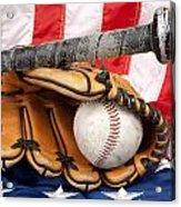 Baseball Equipment On American Flag Acrylic Print by Joe Belanger
