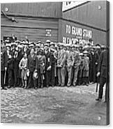 Baseball Fans Waiting In Line To Buy World Series Tickets. Acrylic Print by Underwood Archives