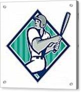 Baseball Hitter Batting Diamond Retro Acrylic Print by Aloysius Patrimonio