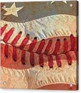 Baseball Is Sewn Into The Fabric Acrylic Print by Heidi Smith