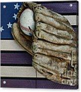 Baseball Mitt On American Flag Folk Art Acrylic Print by Paul Ward