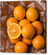 Basket Full Of Oranges Acrylic Print by Garry Gay