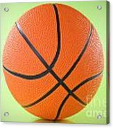 Basketball Ball Over A Green Background Acrylic Print by G J