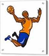 Basketball Player Dunking Ball Cartoon Acrylic Print by Aloysius Patrimonio
