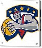 Basketball Player Holding Ball Star Retro Acrylic Print by Aloysius Patrimonio