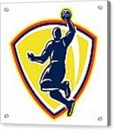 Basketballer Dunking Rebounding Ball Retro Acrylic Print by Aloysius Patrimonio