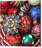Basketful Of Christmas Ornaments Acrylic Print by Garry Gay