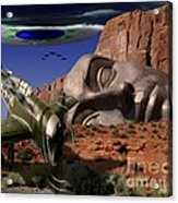 Battle For The Ancient Face Acrylic Print by Keith Dillon
