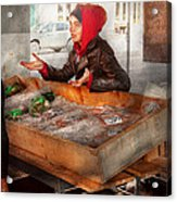 Bazaar - I Sell Fish  Acrylic Print by Mike Savad