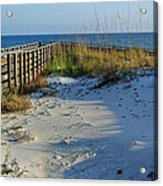 Beach And The Walkway  Acrylic Print by Michael Thomas