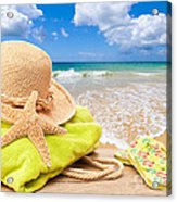 Beach Bag With Sun Hat Acrylic Print by Amanda And Christopher Elwell