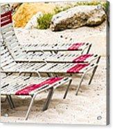 Beach Chairs Acrylic Print by Bernard  Barcos
