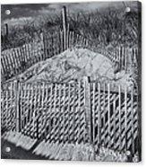 Beach Fence Bw Acrylic Print by Susan Candelario