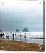 Beach Fun At Ecola  Acrylic Print by Robert Bales