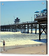 Beach View With Pier 1 Acrylic Print by Ben and Raisa Gertsberg