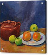 Bean Pot And Fruit Acrylic Print by Susie Jernigan