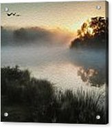 Beautiful Autumnal Landscape Image Of Birds Flying Over Misty Lake Digital Painting Acrylic Print by Matthew Gibson